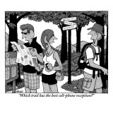 """""""Which trail has the best cell-phone reception?"""" - New Yorker Cartoon Premium Giclee Print by William Haefeli"""