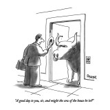 """A good day to you, sir, and might the cow of the house be in?"" - New Yorker Cartoon Premium Giclee Print by Jack Ziegler"