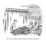 """It's not our policy to disclose details of a future operation."" - New Yorker Cartoon Premium Giclee Print by Frank Cotham"