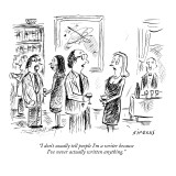 """""""I don't usually tell people I'm a writer because I've never actually writ…"""" - New Yorker Cartoon Premium Giclee Print by David Sipress"""