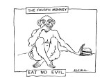 The Fourth Monkey; Eat No Evil - New Yorker Cartoon Premium Giclee Print by Stuart Leeds
