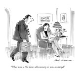 """What was it this time, old economy or new economy?"" - New Yorker Cartoon Premium Giclee Print by Bernard Schoenbaum"