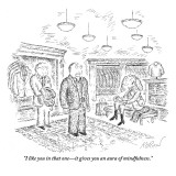 """""""I like you in that one—it gives you an aura of mindfulness."""" - New Yorker Cartoon Premium Giclee Print by Edward Koren"""