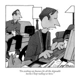 """I'm combing our finances for all this disposable income I keep reading we…"" - New Yorker Cartoon Premium Giclee Print by William Haefeli"