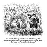 """""""Go straight until you get to the Body Shop.  Then there's a path to the r…"""" - New Yorker Cartoon Premium Giclee Print by Edward Koren"""