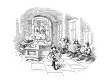 Several men sit in line at a sort of medieval patent office in a royal cou… - New Yorker Cartoon Premium Giclee Print by John O'brien