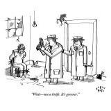 """Wait—use a knife. It's greener."" - New Yorker Cartoon Premium Giclee Print by Farley Katz"