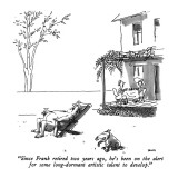"""Since Frank retired two years ago, he's been on the alert for some long-d…"" - New Yorker Cartoon Premium Giclee Print by George Booth"