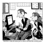 """And this is what the tattoo you've chosen will look like in thirty years."" - New Yorker Cartoon Premium Giclee Print by William Haefeli"