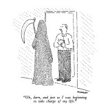 """Oh, darn, and just as I was beginning to take charge of my life."" - New Yorker Cartoon Premium Giclee Print by Robert Mankoff"