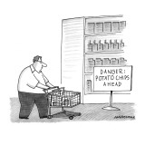 "Man in grocery store with sign ""Danger: Potato Chips Ahead"". - New Yorker Cartoon Premium Giclee Print by Mick Stevens"