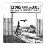 Leon's Auto Salvage and Center for Interpretive Dance: Mechanic/junkyard o… - New Yorker Cartoon Premium Giclee Print by Matthew Diffee