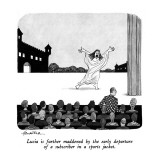 Lucia is further maddened by the early departure of a subscriber in a spor… - New Yorker Cartoon Premium Giclee Print by J.B. Handelsman