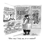"""How may I help you, sir or madam?"" - New Yorker Cartoon Premium Giclee Print by Edward Frascino"