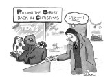 "Man looks at price of stuffed monkey for $179.95 and thinks, ""CHRIST!"" - New Yorker Cartoon Premium Giclee Print by Leo Cullum"