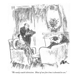 """We rarely watch television.  Most of our free time is devoted to sex."" - New Yorker Cartoon Premium Giclee Print by Robert Weber"