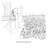 """I welcome the discussion."" - New Yorker Cartoon Premium Giclee Print by Paul Noth"