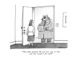 """One final question: Do you now own or have you ever owned a fur coat?"" - New Yorker Cartoon Premium Giclee Print by Mick Stevens"