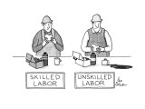 Workman eats his lunch; beneath him is the title, SKILLED LABOR. A second … - New Yorker Cartoon Premium Giclee Print by Leo Cullum
