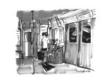 Man in subway with snorkeling gear. - New Yorker Cartoon Premium Giclee Print by Michael Crawford