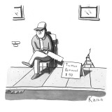 "A man sits with a saw next to a sign that reads ""Tattoo Removal $50."" - New Yorker Cartoon Premium Giclee Print by Zachary Kanin"