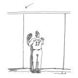 A baseball player watches a ball fly over a wall.  The back of his team je… - New Yorker Cartoon Premium Giclee Print by Michael Crawford