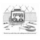 """Now here's my co-anchor, Nancy, with a conflicting account of that very s…"" - New Yorker Cartoon Premium Giclee Print by Jack Ziegler"
