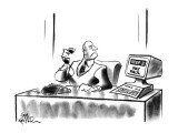 "Computer on businessman's desk reads ""Step 2: Pay Paul"". - New Yorker Cartoon Premium Giclee Print by Ed Fisher"