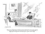 """I was at a high-powered investment firm for seven years and a high-powere…"" - New Yorker Cartoon Premium Giclee Print by Mick Stevens"