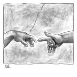 God's hand touching Adam's hand a la Sistine Chapel ceiling, with addition… - New Yorker Cartoon Premium Giclee Print by John Kane