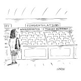 A woman in a greeting card aisle looks at two choices under the category o… - New Yorker Cartoon Premium Giclee Print by David Sipress