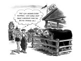At a county fair, two people oddly dressed walk past a cow pen. Both cows … - New Yorker Cartoon Premium Giclee Print by Ed Fisher