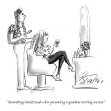 """Something intellectual—I'm presenting a goddam writing award."" - New Yorker Cartoon Premium Giclee Print by Edward Frascino"