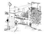 Rue de la Bonne Femme' has a woman with a loaf of French bread walking do…' - New Yorker Cartoon Premium Giclee Print by Noel Watson