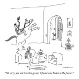 """""""Oh, sorry, you don't need to go out.  I found some butter in the freezer."""" - New Yorker Cartoon Premium Giclee Print by Michael Maslin"""