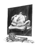 The patient on a couch being analyzed stares at a nude painting of a large… - New Yorker Cartoon Premium Giclee Print by Peter Porges