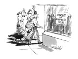 The symbolic figures of Blind Justice, Statue of Liberty, Uncle Sam, and t… - New Yorker Cartoon Premium Giclee Print by Mischa Richter