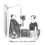 """Walter – am I a New Year's resolution?"" - New Yorker Cartoon Premium Giclee Print by Charles Saxon"