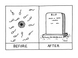 "Two frames: the first showing sperm and an egg and labeled ""Before;"" the s… - New Yorker Cartoon Premium Giclee Print by Tom Cheney"