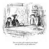 """I'm sorry, but so far medical science hasn't come up with a cure for adol…"" - New Yorker Cartoon Premium Giclee Print by Robert Weber"