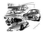 Man looking in rearview car mirror sees woman driving behind him who has a… - New Yorker Cartoon Premium Giclee Print by Warren Miller