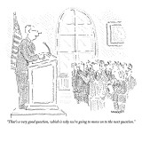 """That's a very good question, which is why we're going to move on to the n…"" - New Yorker Cartoon Premium Giclee Print by Robert Mankoff"