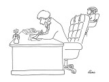 Woman at desk with baby strapped to the back of her chair. - New Yorker Cartoon Premium Giclee Print by J.P. Rini