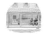 Two men sit outside a typical general store in the country.  The sign in t… - New Yorker Cartoon Premium Giclee Print by Jack Ziegler