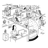 A man is seen sitting in an oversized snow globe in a room full of cubicles.  - New Yorker Cartoon Premium Giclee Print by Felipe Galindo