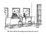 """We tried to talk her into coming, but you know how cats are."" - New Yorker Cartoon Premium Giclee Print by Tom Cheney"