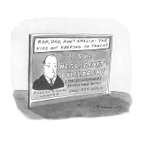Billboard advertises the services of lawyer who will sue children, nephews… - New Yorker Cartoon Premium Giclee Print by Danny Shanahan