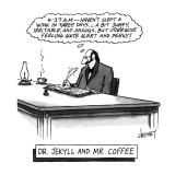 Dr. Jekyll and Mr. Coffee - New Yorker Cartoon Premium Giclee Print by Tom Cheney