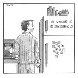 Man in pajamas making coffee looks over at the refrigerator to his right, … - New Yorker Cartoon Premium Giclee Print by Harry Bliss