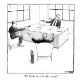 """Uh, Trudy, how's the coffee coming?"" - New Yorker Cartoon Premium Giclee Print by Matthew Diffee"